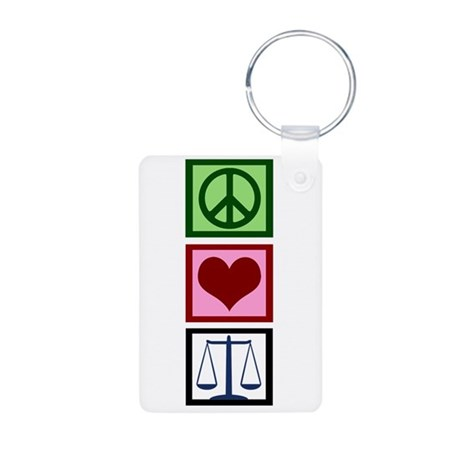Peace Love Justice Aluminum Photo Keychain