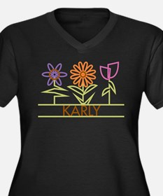 Karly with cute flowers Women's Plus Size V-Neck D