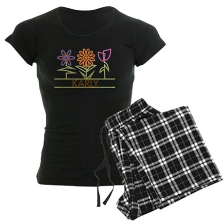 Karly with cute flowers Women's Dark Pajamas