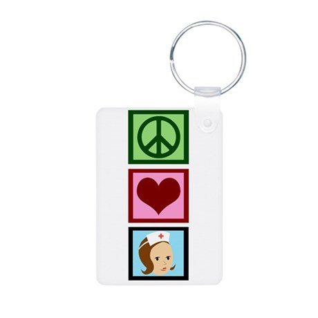 Peace Love Nurse Aluminum Photo Keychain