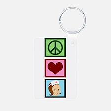Peace Love Nurse Keychains