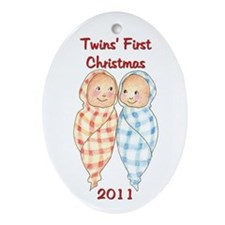 Unique Twins first christmas Ornament (Oval)