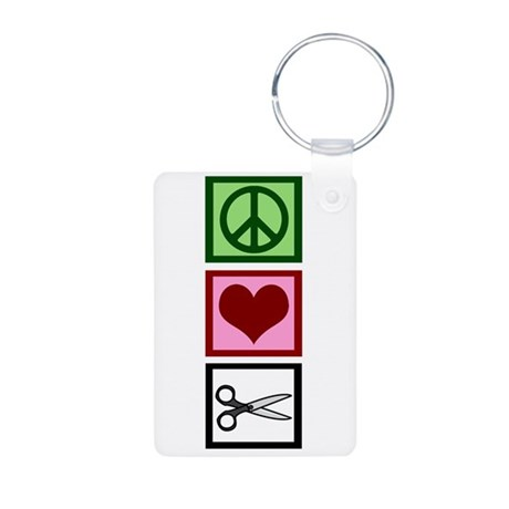Peace Love Cut Aluminum Photo Keychain