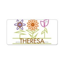 Theresa with cute flowers Aluminum License Plate