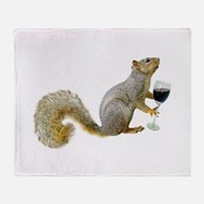 Squirrel with Wine Throw Blanket