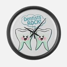 Funny Dentists Rock Large Wall Clock