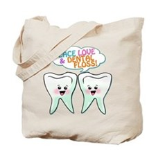 Peace Love Dental Floss Tote Bag