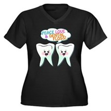 Peace Love Dental Floss Women's Plus Size V-Neck D