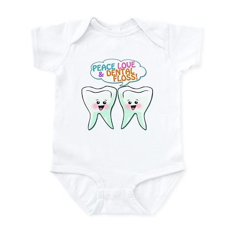 Peace Love Dental Floss Infant Bodysuit