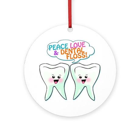 Peace Love Dental Floss Ornament (Round)