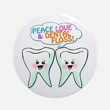 Peace Love Dental Floss Ornament (Round)