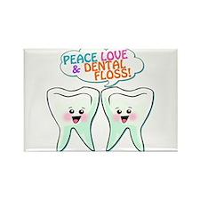 Peace Love Dental Floss Rectangle Magnet