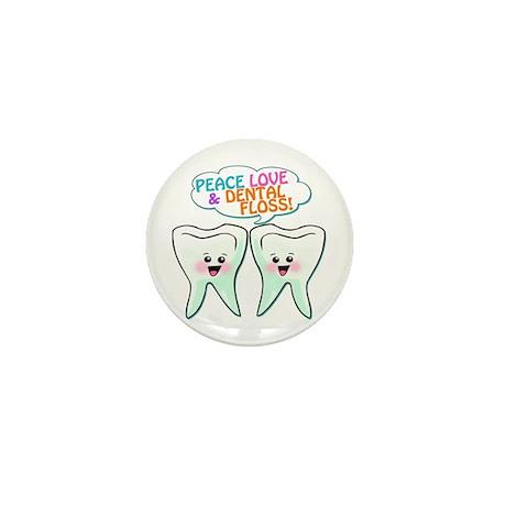 Peace Love Dental Floss Mini Button