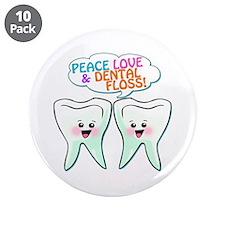 "Peace Love Dental Floss 3.5"" Button (10 pack)"