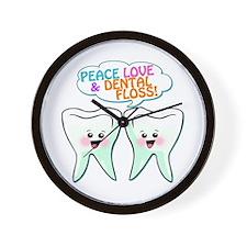 Peace Love Dental Floss Wall Clock