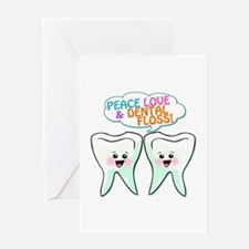 Peace Love Dental Floss Greeting Card