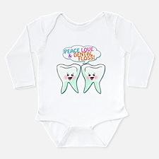 Peace Love Dental Floss Long Sleeve Infant Bodysui