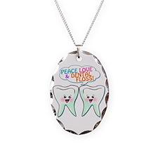 Peace Love Dental Floss Necklace Oval Charm