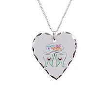 Peace Love Dental Floss Necklace Heart Charm