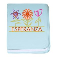 Esperanza with cute flowers baby blanket