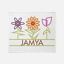 Jamya with cute flowers Throw Blanket