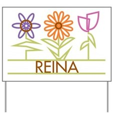 Reina with cute flowers Yard Sign