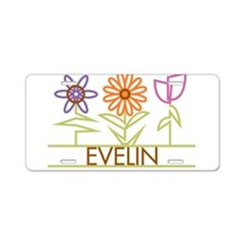 Evelin with cute flowers Aluminum License Plate