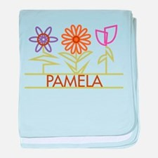 Pamela with cute flowers baby blanket