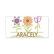Aracely with cute flowers Aluminum License Plate