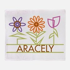 Aracely with cute flowers Throw Blanket