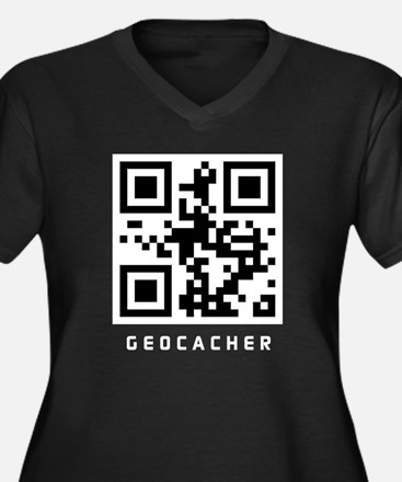 GEOCACHER Women's Plus Size V-Neck Dark T-Shirt
