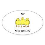 Fat Chicks Sticker (Oval 10 pk)