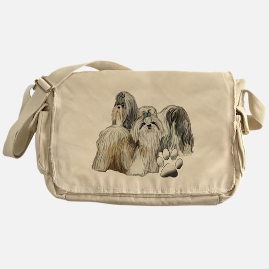 two shih tzus Messenger Bag