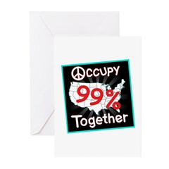 occupy together peace Greeting Cards (Pk of 10)
