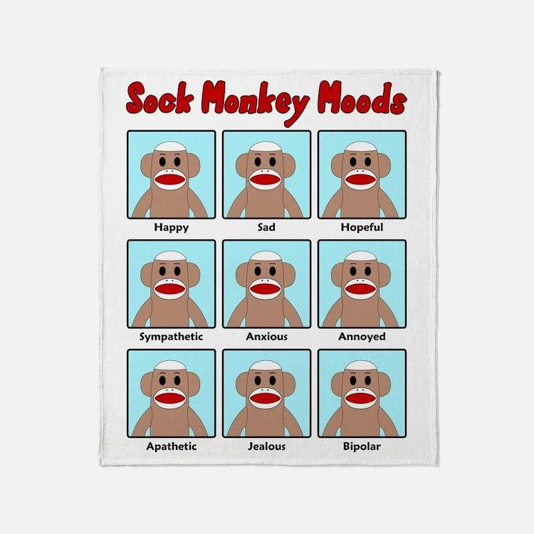 Sock Monkey Moods Throw Blanket