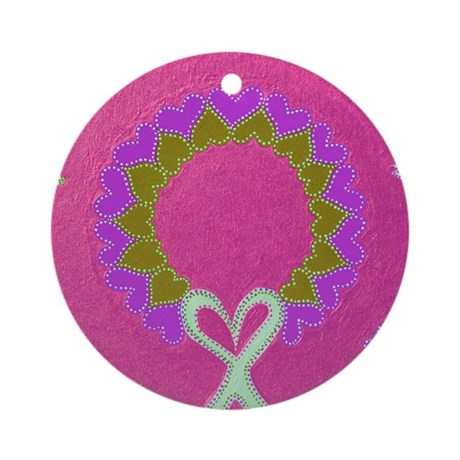 Wreath Hearts Pink Ornament (Round)