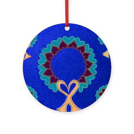 Wreath Hearts Blue Ornament (Round)