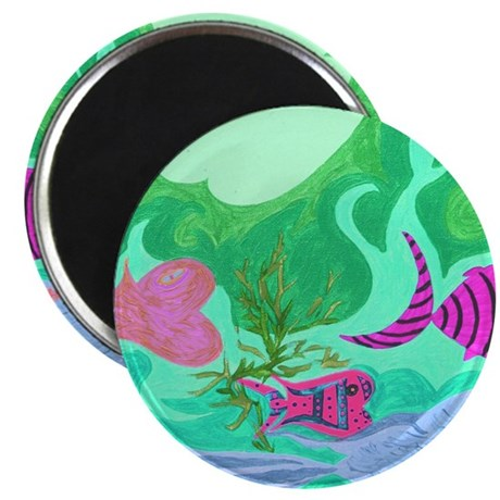 Sea of Hearts Green Magnet