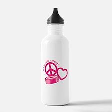 Peace, Love & Hockey Water Bottle