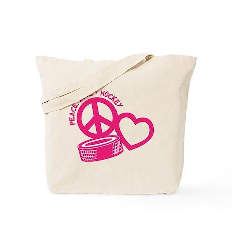Peace, Love & Hockey Tote Bag