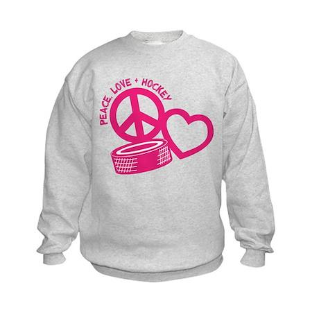 Peace, Love & Hockey Kids Sweatshirt