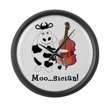 Cow Moo...sician! Large Wall Clock