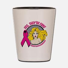 Blonde Girl Fake Breast Cancer Shot Glass