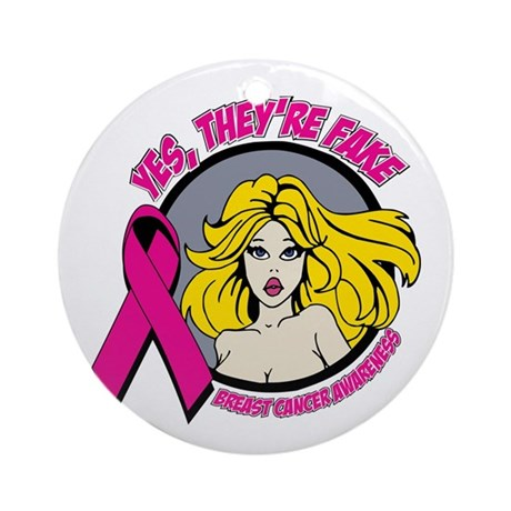 Blonde Girl Fake Breast Cancer Ornament (Round)