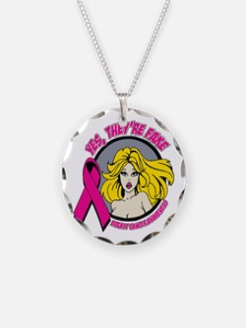 Blonde Girl Fake Breast Cancer Necklace