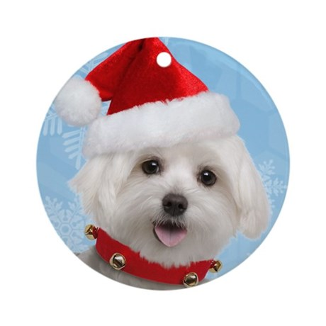 Maltese Puppy Christmas Ornament