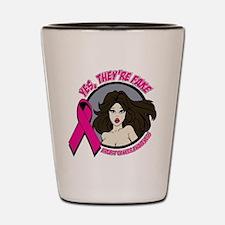 Brunette Fake Breast Cancer Shot Glass