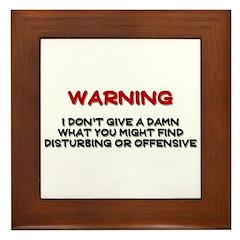 Warning Disturbing Or Offensive Framed Tile