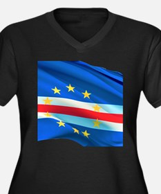 Cape Verde Flag Women's V-Neck Plus Size T-Shi