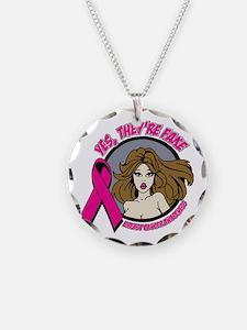 Brunette Fake Breast Cancer Necklace